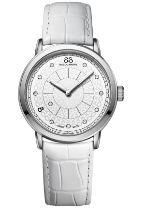 88 Rue du Rhone Double 8 Origin White Dial White Leather Ladies Watch 87WA120019