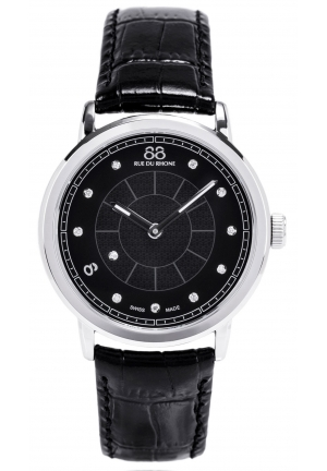 88 Rue du Rhone Double 8 Origin Black Dial Black Leather Ladies Watch 87WA120020
