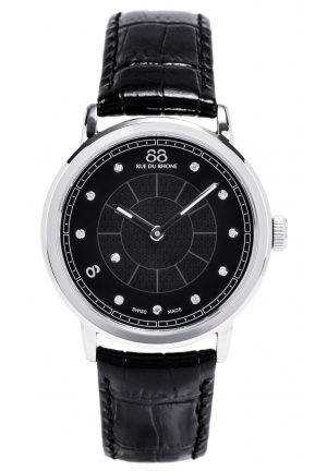 88 Rue du Rhone Double 8 Origin Black Dial Black Leather Mens Watch 87WA120026