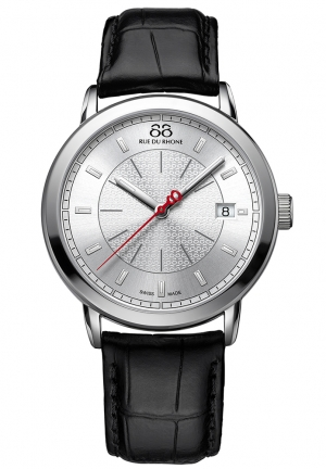 88 Rue du Rhone Double 8 Origin Silver Dial Black Leather Mens Watch 87WA120027