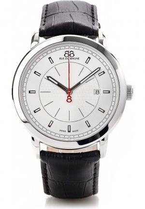 88 Rue du Rhone Double 8 Origin Silver Dial Black Leather Mens Watch 87WA120036