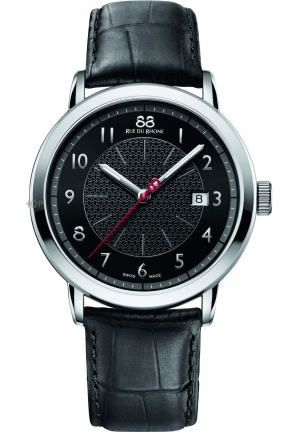 88 Rue du Rhone Double 8 Origin Black Dial Black Leather Mens Watch 87WA120039