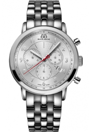 Rue du Rhone Double 8 Chronograph Silver Dial Stainless Steel Mens Watch 87WA120044