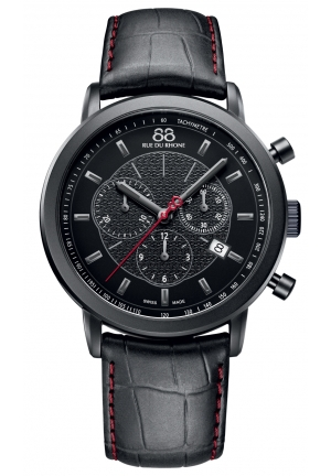 Rue du Rhone Double 8 Chronograph Black Dial Black Leather Mens Watch 87WA120046
