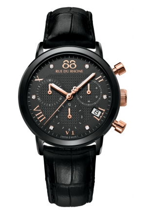 Rue du Rhone Double 8 Chronograph Black Dial Black Leather Ladies Watch 87WA130005