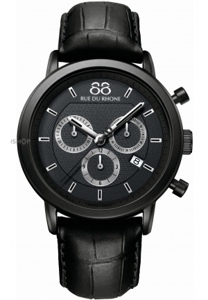 Rue du Rhone Double 8 Chronograph Black Dial Black Leather Mens Watch 87WA130017