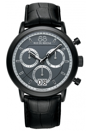 Rue du Rhone Double 8 Chroniograph Dark Grey Dial Black Leather Mens Watch 87WA130021