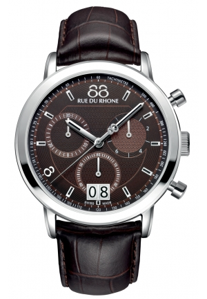Rue du Rhone Double 8 Chronograph Brown Dial Brown Leather Mens Watch 87WA130022