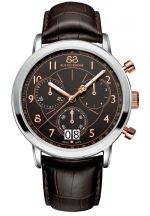 Rue du Rhone Double 8 Chronograph Brown Dial Brown Leather Mens Watch 87WA130024