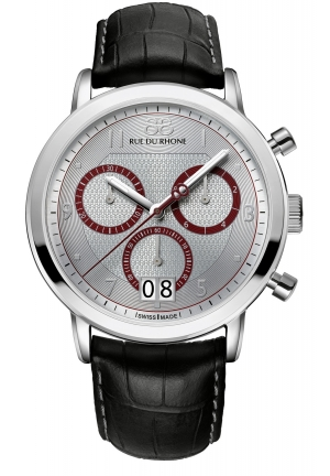 Rue du Rhone Double 8 Chronograph Silver Dial Brown Leather Mens Watch 87WA130026