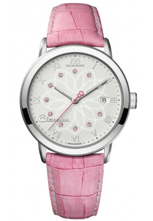 88 RUE DU RHONE Alexandra Double 8 Origin Silver Dial Pink Leather Ladies Watch 39mm