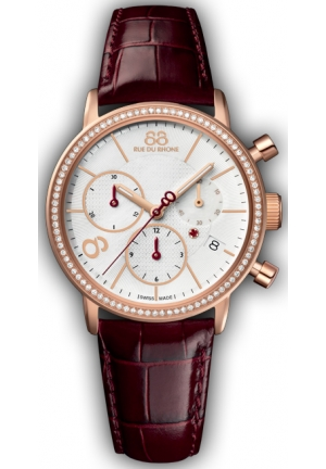 88 RUE DU RHONE Rose Gold PVD Diamond Bezel Swiss Made Chrono Watch 87WA140035 35mm