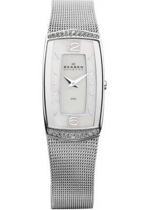 Skagen Glitz Mother of Pearl Dial Stainless Steel Mesh Ladies Watch