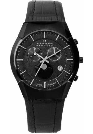 Skagen Men's 901XLBLB Black Label, Leather Banc Watch