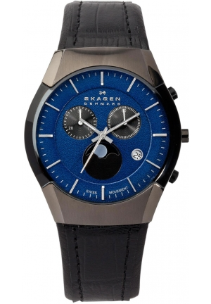 Skagen Men's Black Label Black Leather Band, Blue Dial Watch