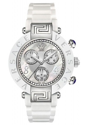 VERSACE Reve Ceramic Bezel Chronograph White Rubber Watch 39mm