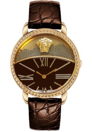 KRIOS ROSE GOLD ION-PLATED BROWN LEATHER LADIES WATCH,38MM