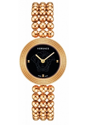 Versace Women's Eon Soire Gold IP Black Dial Sapphire Stainless Steel