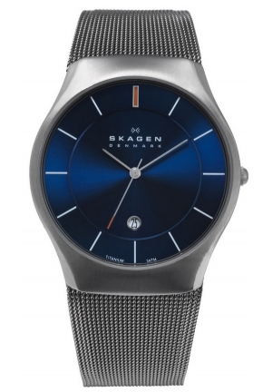 Skagen Watch, Men's Charcoal Tone Titanium Mesh Bracelet 39mm