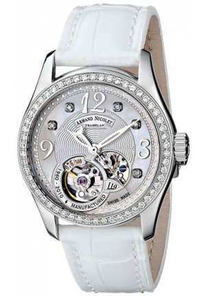 Armand Nicolet Women's 9653D-AN-P953BC8 LL9 Limited Edition Stainless Steel Classic Watch with White Alligator Band