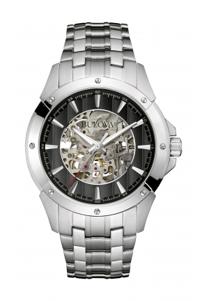 Bulova Men's Black and Silver Skeleton Dial Steel Bracelet Automatic Watch