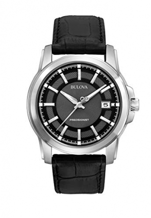 BULOVA Precisionist Grey Dial Black Leather Men's Watch
