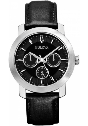 BULOVA Men's Black Leather Strap 40mm