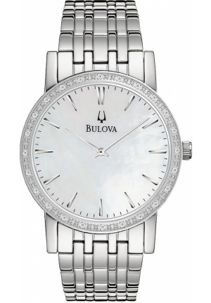 BULOVA Men's Diamond Accent Stainless Steel Bracelet 38mm