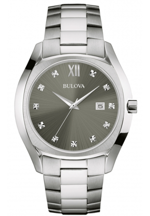 BULOVA DIAMOND THREE-HAND STAINLESS STEEL MEN'S WATCH
