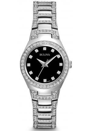BULOVA Women's Crystal Stainless Steel Bracelet 25mm