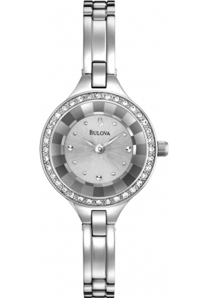 Bulova  Stone Set Silver Dial Watch 26MM