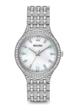BULOVA WOMEN'S SWAROVSKI CRYSTAL STAINLESS STEEL WATCH