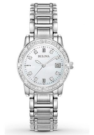 BULOVA Diamond-Accented Stainless Steel Watch 26mm