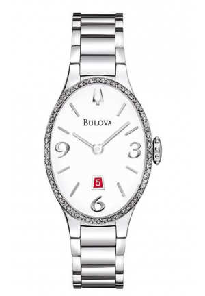 BULOVA DIAMOND ANALOG DISPLAY ANALOG QUARTZ SILVER WATCH