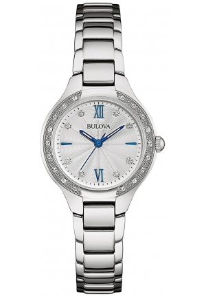 Bulova Women's 26 Diamonds Stainless Steel Bracelet Watch 96R208