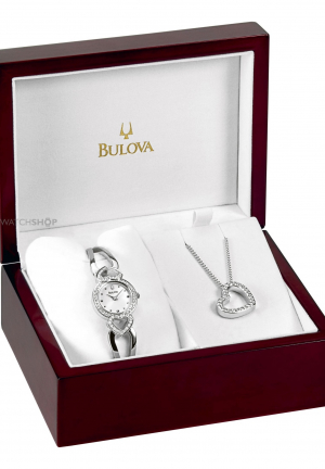 BULOVA WOMEN'S CRYSTAL PENDANT BOXED SET WATCH 22MM