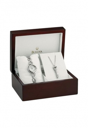 BULOVA LADIES BOX SET NECKLACE AND WATCH 20MM