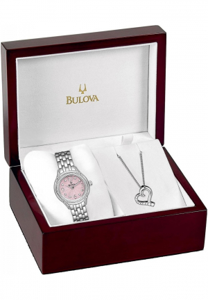 BULOVA LADIES' HEART NECKLACE WATCH SET 30MM