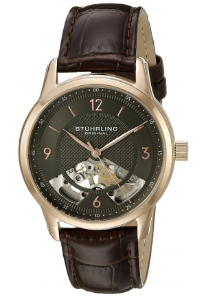 Stuhrling Original Men's Legacy Analog Display Mechanical Hand Wind Brown Watch