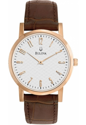 BULOVA Men's Brown Leather Strap 38mm