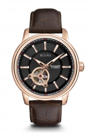 Bulova Mechanical Black Dial Rose Gold-tone Stainless Steel Men's Watch 97A109