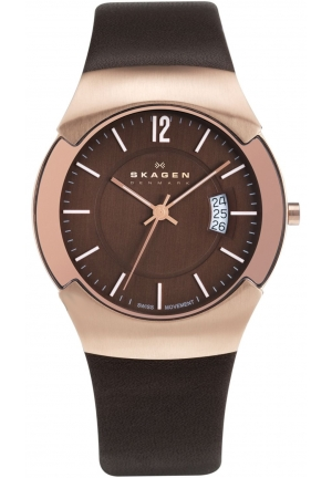 Skagen Black Label Executive Brown Dial Rose Gold-tone Mens Watch