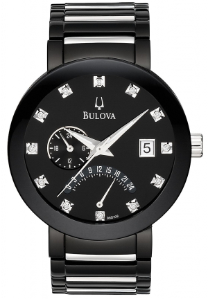 Men's Diamond Accented Black Dial Black Ion-plated Watch