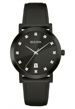 BULOVA DIAMOND THREE-HAND BLACK LEATHER MEN'S WATCH