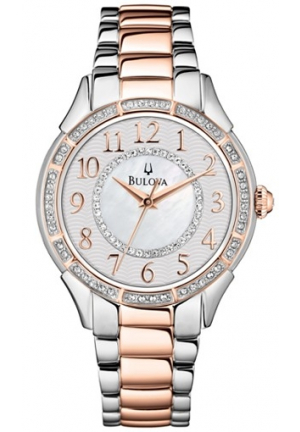 Bulova Mother of Pearl Crystal-set Dial Two-tone Ladies Watch