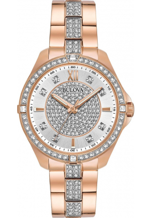 BULOVA CRYSTAL SILVER DIAL LADIES WATCH 35MM