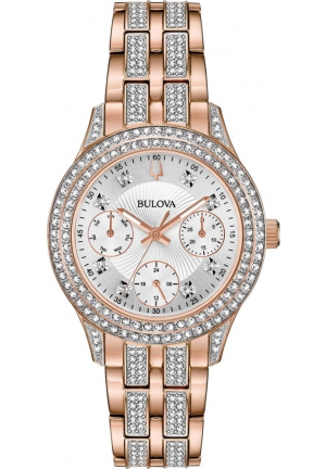 BULOVA CRYSTAL SILVER DIAL LADIES WATCH 33MM