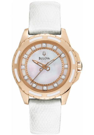 BULOVA DIAMOND WOMEN'S WHITE LEATHER STRAP