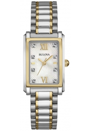 Bulova Women's Diamond Accent Two-Tone Stainless Steel Bracelet Watch 35x23mm