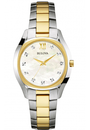 BULOVA DIAMOND ACCENT TWO-TONE WATCH WITH MOTHER-OF-PEARL DIAL